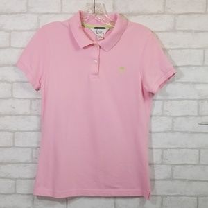 Lilly Pulitzer shrunken pink polo top size M